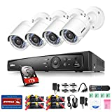 ANNKE HD 1080P 4 Channel Home Security System, 1080P H.264+ DVR Recorder with 4*1080P Surveillance Cameras, Motion Detection E-mail Alarm (1TB Hard Disk)
