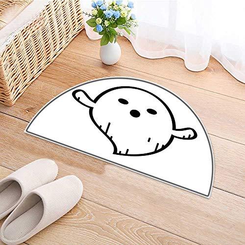 Semicircle Area Rug Carpet Ghost Doodle Cartoon Character