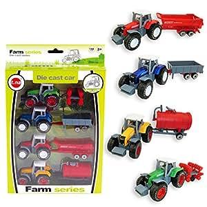 Vidatoy 1:64 Die Cast Slide Farm Tractor Cars Toys Play Vehicle Set