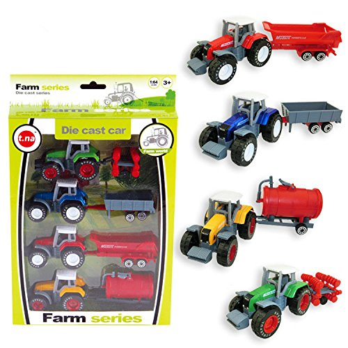 Vidatoy 1:64 Die Cast Slide Farm Tractor Cars Toys Play Vehicle Set