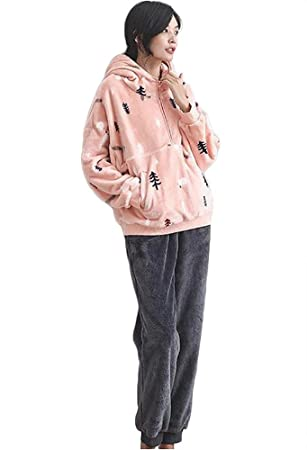 mujer invierno franela conjunto de pijamas señoras 2 piezas suave espesar ropa de salón, S-L