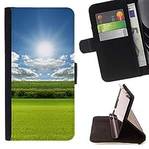 - Nature Field Green - - Monedero PU titular de la tarjeta de cr????dito de cuero cubierta de la caja de la bolsa FOR Samsung Galaxy S6 EDGE RetroCandy