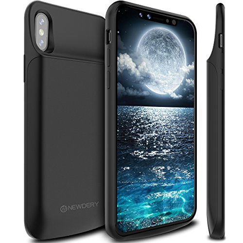 "iPhone X 10 Battery Charger Case, Newdery iPhone X 6000mAh Rechargeable Battery Charging Case with Sync Through, Portable Extended Protective Jiuce Pack Cover for iPhone X 10(5.8"") Support Lightning Headphones"