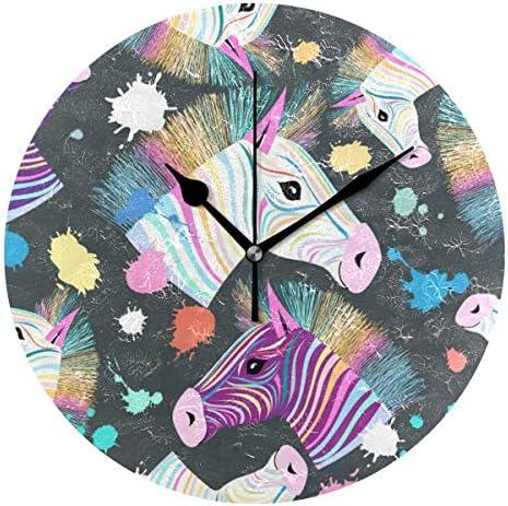 UKIO 掛け時計 置き時計 壁掛け時計 馬柄 斑馬 カラフル 部屋装飾 壁時計 インテリア おしゃれ かわいい アート 部屋 ウォールクロック 円型