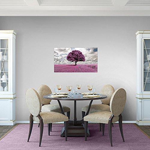 Bilder-Baum-Landschaft-Wandbild-Vlies-Leinwand-Bild-XXL-Format-Wandbilder-Wohnzimmer-Wohnung-Deko-Kunstdrucke-70-x-40-cm-Violett-1-Teilig-100-MADE-IN-GERMANY-Fertig-zum-Aufhngen-608014a