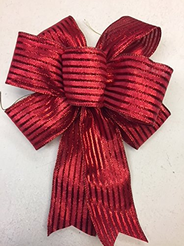 Wired Sparkling Red Glitter Striped Christmas Bow Ribbon Handmade Holiday Bow 8''-9'' in Diameter - Red Hand Made Bow By Wreaths For Door