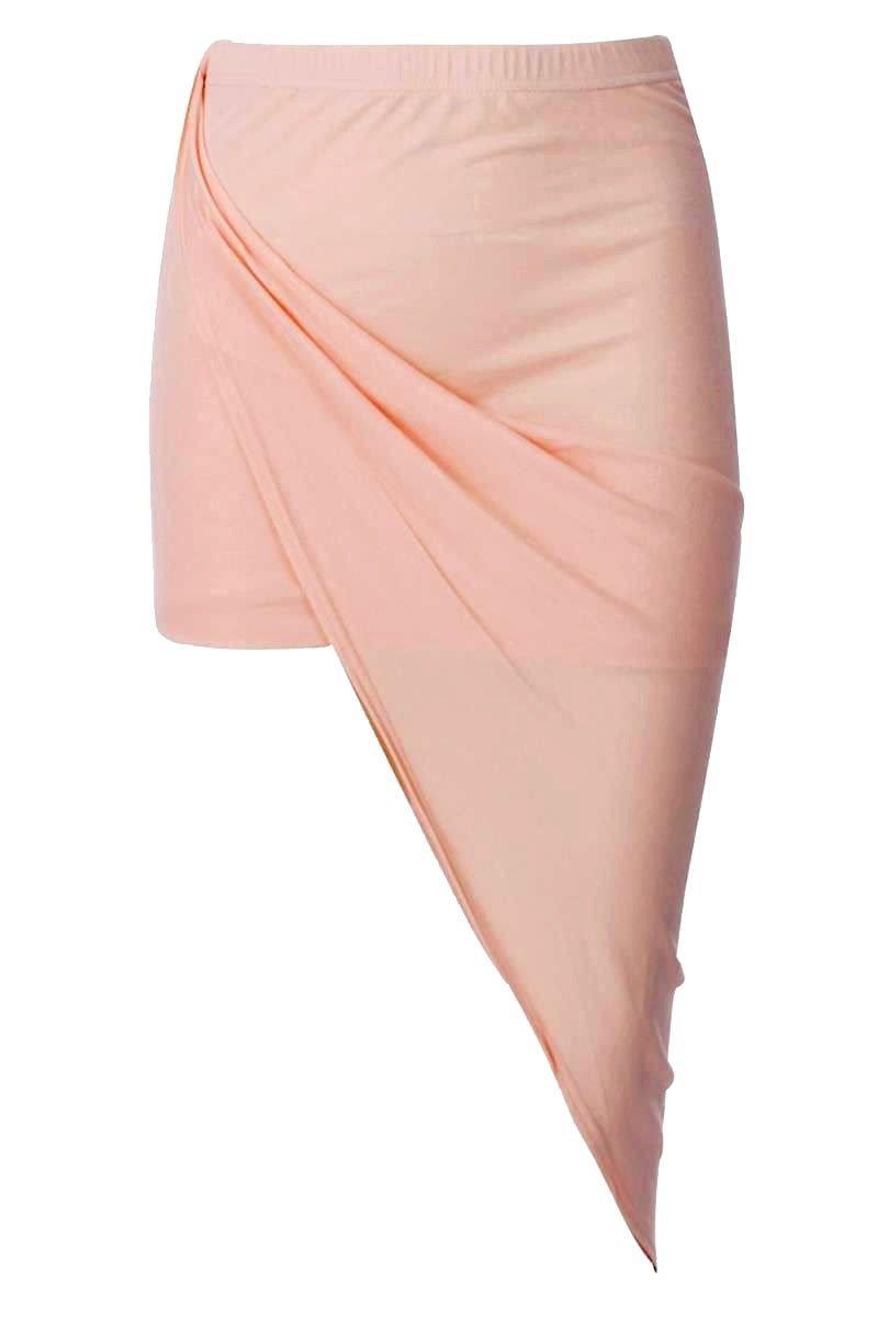 Forever Womens Celebrity Inspired Plain Side Split Asymmetric Drape Ruched Skirt