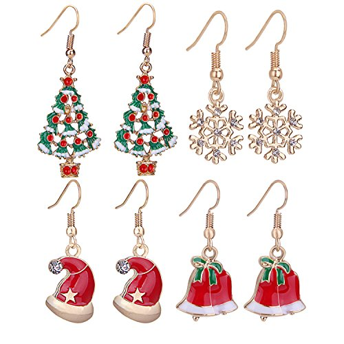 Zhenhui Happy Gold Tone Christmas Tree Earrings Set Colorful Xmas Tree Santa Missing Hat Rhinestone Snowflake Jingle Bells Charm Pack of 4 Pairs ()