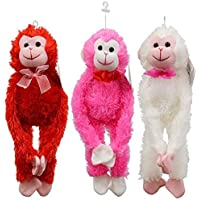 "Greenbrier Bundle of 3 Valentine's Day 13"" Plush Hanging Monkeys (18"" Extended Arms): Red ~ Hot Pink ~ White"