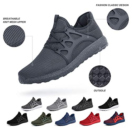 ZOCAVIA Mens Running Tennis Work Shoes Slip On Resistant Sneakers Lightweight.