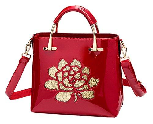 En Paillettes Fourre Réglable Himaleyaz Bandoulière Femmes Italienne Rouge Sac Main Avec Zip Cuir Verni tout À Messager Fleur Vin Zw5qw7