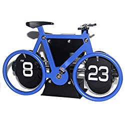 Creative Clock,KABB Modern Stylish Bicycle Shaped Retro Flip Down Desk Clock with Dual Internal Gears Operated for Office Bedroom Home Decoration