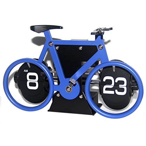 Creative Clock,KABB Modern Stylish Bicycle Shaped Retro Flip Down Desk Clock with Dual Internal Gears Operated for Office Bedroom Home Decoration (Clock Flip Table)