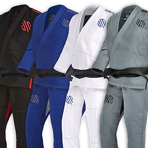 Sanabul Essentials v.2 Ultra Light BJJ Jiu Jitsu Gi with Preshrunk Fabric (Grey, (Fuji Fabric)