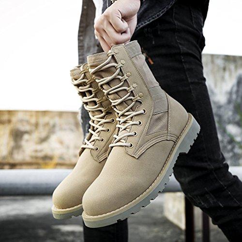 Jitong Herren Schnürstiefel Kunstleder Einsatzstiefel Tactical Boots Komfortabel Stiefelette Winterschuhe Beige