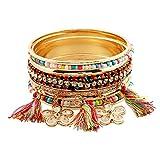 Starshiny Women Bohemian Tassel Flower Bracelet Gold Tone Handmade Wrap Cuff Layer Bangle Bracelet