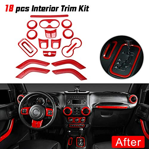 Everrich 18Pack - Car interior trim trim trim air conditioning ventilated trim - door speaker and cup holder and headlight switch and window lift button cover for Jeep Wrangler JK 2011-2017 (red)