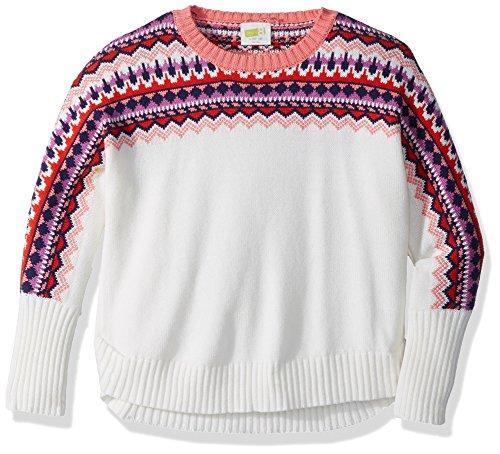 Crazy 8 Little Girls' Long Sleeve Sweater Fair Isle, Cream Fair Isle, - Sweater Isle