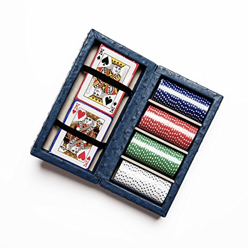 SMB Group Ostrich Style Poker Set in Blue by SMB Group
