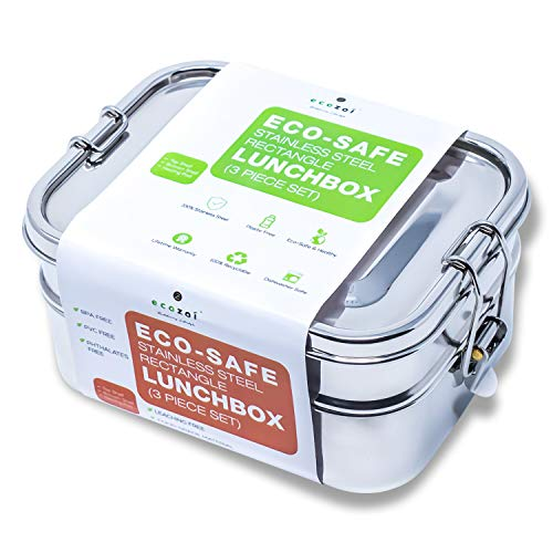 Ecozoi LEAK PROOF Stainless Steel 3-in-1 Eco Lunch Box Bento Boxes | REDESIGNED Silicone Seal + BONUS Lunch Pod | Sustainable Tiffin Eco Friendly Metal Bento Box Food Storage Containers ()