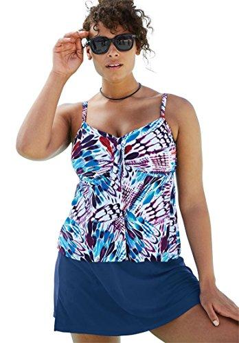 lus Size Tie-Front Tankini by Shore Club - Multi, 20 ()