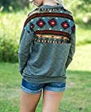 MIROL Women's Casual Fall Long Sleeve 1/4 Zip Aztec Floral Printed Pullover Sweatshirt Tops with Pockets
