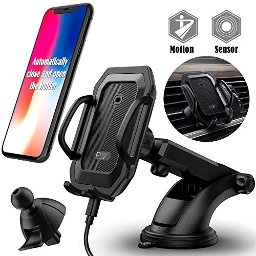 Car Phone Mount, ELV Universal Car Air Vent Mount & Dashboard Windshield Car Phone Holder Mount with Automatic Lock Release Cradle for iPhone X 8 7 Plus 6S, Samsung Galaxy Note 9 S9 S8 S7 & GPS