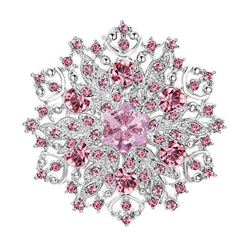 EVER FAITH Austrian Crystal Elegant Winter Snowflake Corsage Brooch Pin Pink