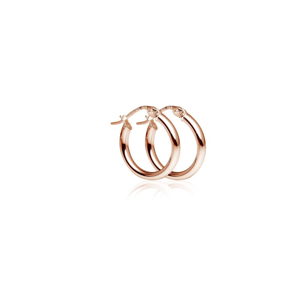 LOVVE Rose Gold Flashed Sterling Silver High Polished Round-Tube Click-Top Hoop Earrings, 2x15mm by Lovve (Image #2)
