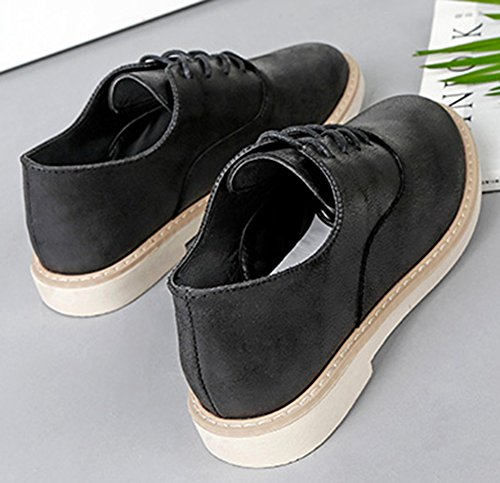 Idifu Femmes Casual Bout Pointu Bas Haut Chunky Talons Lacets Oxfords Chaussures Noir