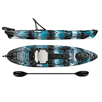 Vibe Kayaks Sea Ghost 110 | 11 Foot | Angler Sit On Top Fishing Kayak with Adjustable Hero Comfort Seat & Transducer Port + Rod Holders + Storage + Rudder System Included