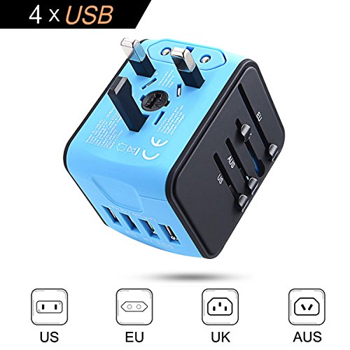 Universal Travel Adapter, International Power Adapter, Travel Plug Adapter, Worldwide Travel Plug, All In One Travel Outlet Adapter with 4 USB 3.4A, for UK, EU, US, AUS, and more 170 countries (blue2) by Ougrand