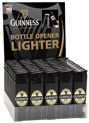 Guinness Electronic Single Lighter And Bottler Opener With Lapel Design, Black Colour