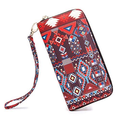 LOVESHE Women wallet JewelryPattern Bohemian wristlet Clutch wallets(JewelryPattern)
