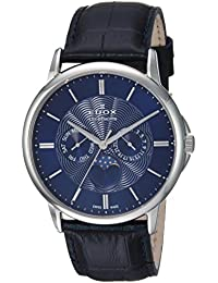 Men's 'Les Bemonts' Swiss Quartz Stainless Steel and Leather Dress Watch, Color:Blue (Model: 40002 3 BUIN)