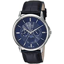 Edox Men's 'Les Bemonts' Swiss Quartz Stainless Steel and Leather Dress Watch, Color:Blue (Model: 40002 3 BUIN)