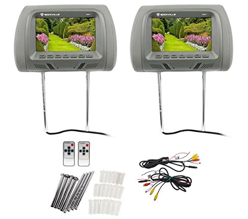 "Pair Rockville RHP7-GR 7"" Grey TFT-LCD Car Headrest TV Monitors w/Speakers+IR"