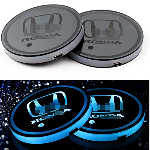 monochef Auto sport 2PCS LED Cup Holder Mat Pad Coaster with USB Rechargeable Interior Decoration Light (honda)