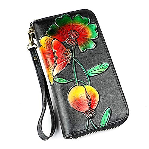 Lady Wallets, Leather Hand Painted Flowers Purse RFID Wristlet Wallet For Women (Women's RFID Blocking Wallet Rose) -