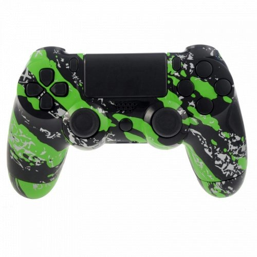 Modfreakz Shell Button Kit Hydro Dipped Collection   Green Splatter For Ps4 Gen 1 2 V1 Controller