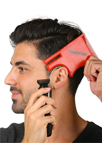 RevoHair Self - Haircut Tool - Multi-Curve Hairline Template/Stencil/Guide For Men - Barber Supplies - Lightweight - With Hair & Beard Comb - Lineup & Edge up - Do it Yourself