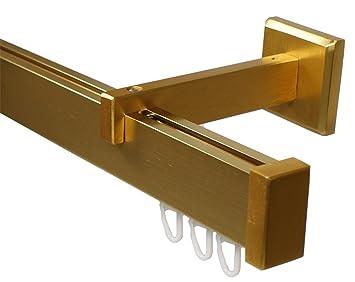 Design Innenlauf Gardinenstange Eckig Aus Aluminium In Messing Optik Langer Wandabstand 200 Cm