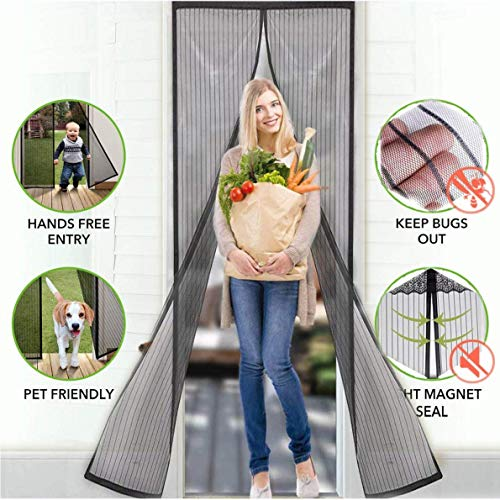 AKEDRE Magnetic Screen Doors AQwzh New 2018 Patent Pending Design Full Frame Velcro and Fiberglass Mesh Polyester This Instantly Retractable Bug Screen 。( Fits Doors up to 36 x 82-inch) (36-82)