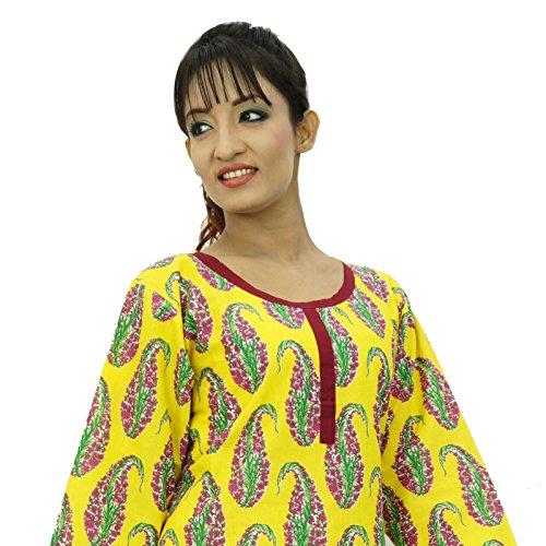 Algodón Kurti diseñador de Bollywood desgaste de mujeres del vestido ocasional étnico Amarillo