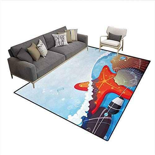 Rug,Foaming Ocean Waves Graphic with Scallops and Seastar and Pebble Stones Bubbles,Floor Mat for Kids,MulticolorSize:6'x9'