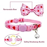 Pohshido Valentine's Cat Collar with Bow Tie and