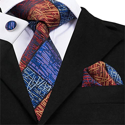 - YUANZYPS Bow Tie Suit,Novelty Mens Tie Set 100% Handmade Silk Jacquard Woven Neck Tie Handkerchief Cufflinks Set