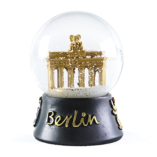 WOBAOS Snow Globe crafts- Sculptured Resin Water Ball - Christmas Valentine's day birthday holiday new year's gift (Diameter 60mm-80mm) (Diameter 80mm, Golden/Berlin)