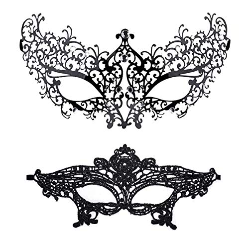 Masquerade Mask for Women Shiny Rhinestone Venetian Party Prom Ball Metal Mask (Flower) -