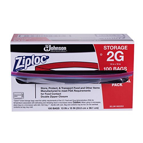 Ziploc Storage Bag, 2 Gallon, 100 ct